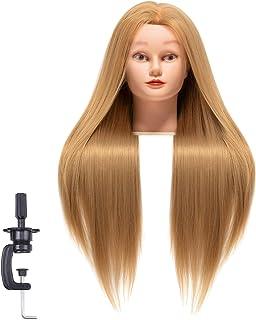 TEMAN Cosmetology Mannequin Head Synthetic Fiber Hair 26-28 inch Long Hair Training Head Doll Head for Hair Styling Hairdr...