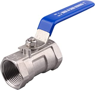 DERNORD Stainless Steel Ball Valve 1PC Type 1 Inch NPT Standard Port for Water, Oil, and Gas (1 Inch Ball Valve)