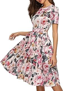Simple Flavor Women's Floral Summer Midi Dress Vintage Evening Dress Short Sleeve
