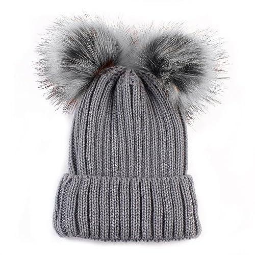 Women s Faux Fur Winter Warm Knit Knitted Bobble Double Pom Pom Beanie  Bobble Baggy Fluffy Ball 858f8d1d7c3e