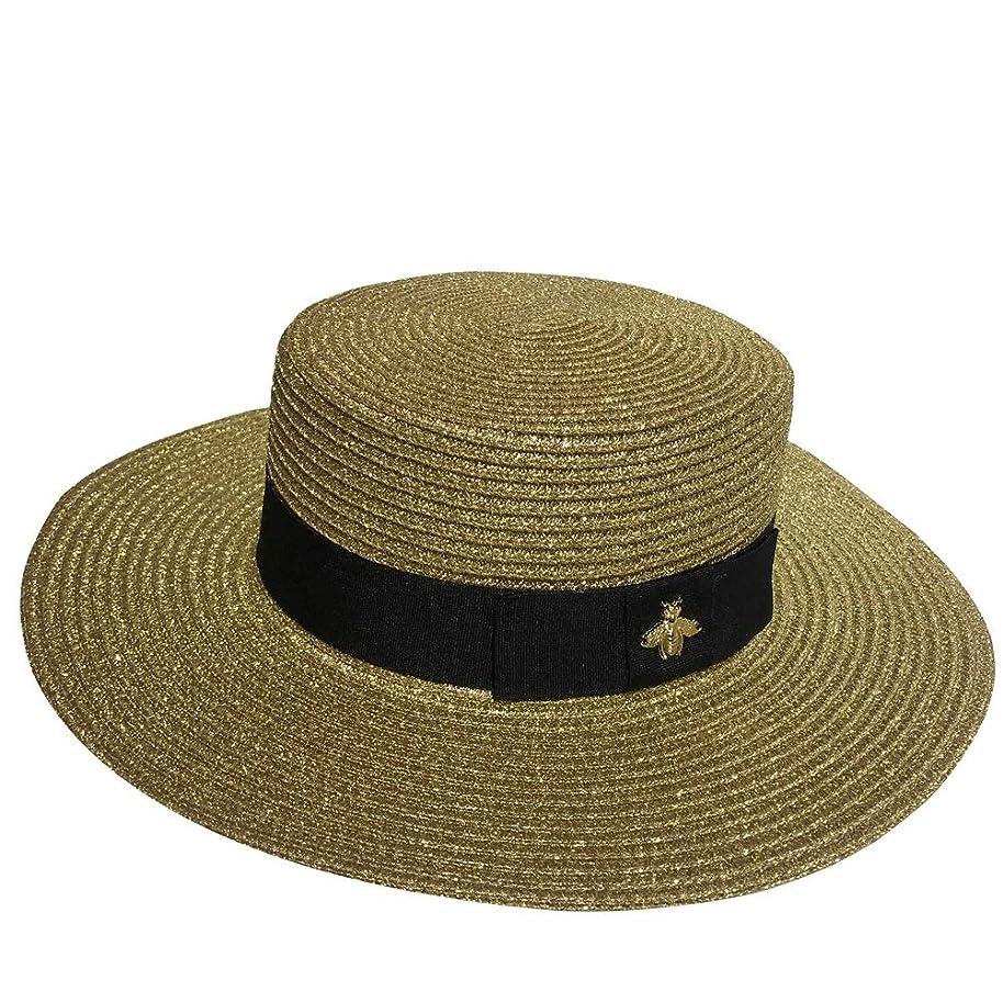 速報移行苦味Wen Zhe 麦わら帽子蜂ゴールデンルース日焼け止めビーチ帽子春夏ヨーロッパとアメリカレトロとスター 日よけ帽