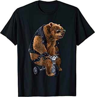 T-Shirt, Punk Rock Grizzly Bear Ride Tricycle Leather Jacket