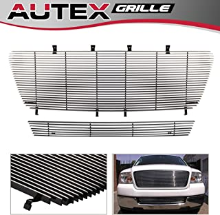 AUTEX F81098A Aluminum Main Upper Grille Insert + Lower Bumper Horizontal Billet Grille Combo Compatible With Ford F150 2006 2007 2008 All Model