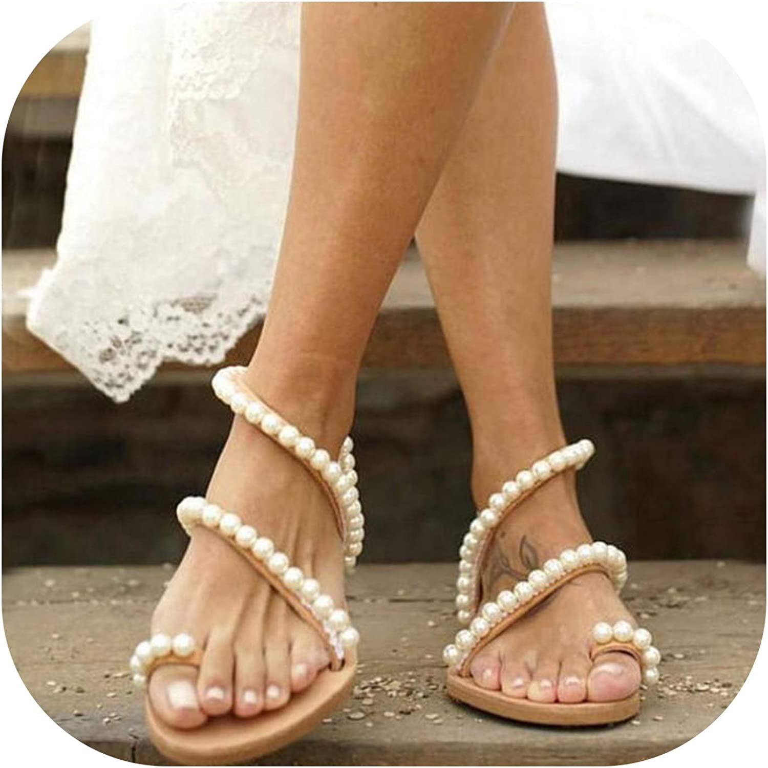 QianQianStore Women Flats Sandals Beads Fashion Summer shoes Women Casual Daily Lady Wedding Footwear