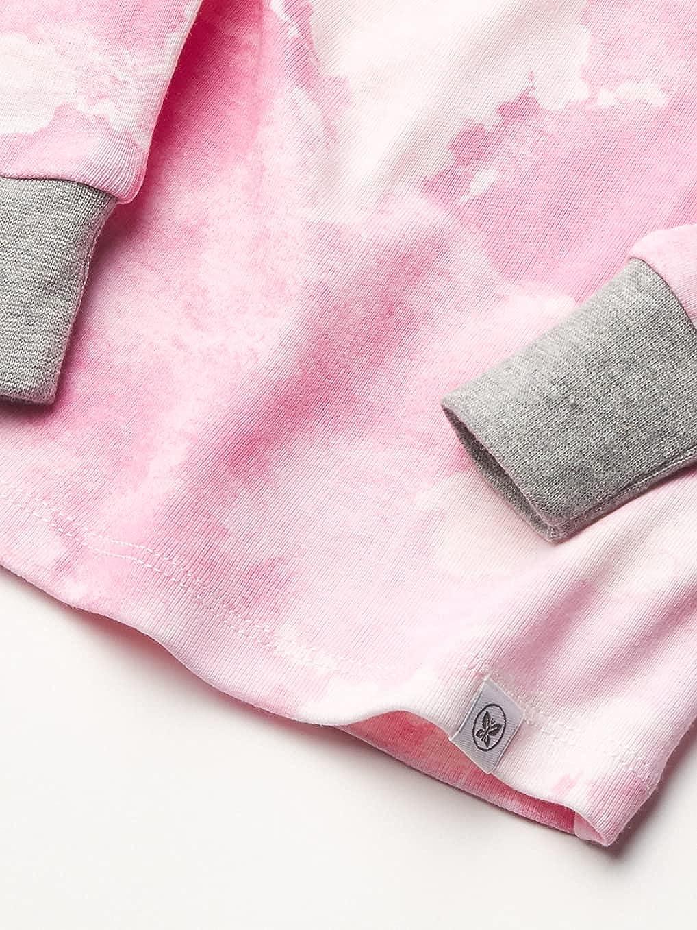 HonestBaby Baby Organic Cotton 2-Piece Snug Fit Pajama Set, Rose Color World, 12 Months