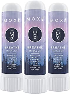 MOXE Breathe | Pink Himalayan Sea Salt Inhaler | Help Clear Congestion, Improve Breathing and Boost Focus | Aromatherapy Sinus Inhaler | Peppermint, Eucalyptus and Lavender Essential Oils (3 Pack)