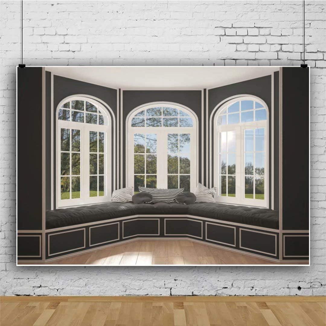 DaShan 14x10ft Classic Living Room Interior Bay Windows Backdrop Glass Window Interior Decor Phtography Background Wedding Birthday Party Decor Adults Kids Newborn Portrait Photo Studio Props
