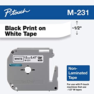 """Brother Genuine P-touch M-231 Tape, 1/2"""" (0.47"""") Standard P-touch Tape, Black on White, for Indoor Use, Water Resistant, 2..."""
