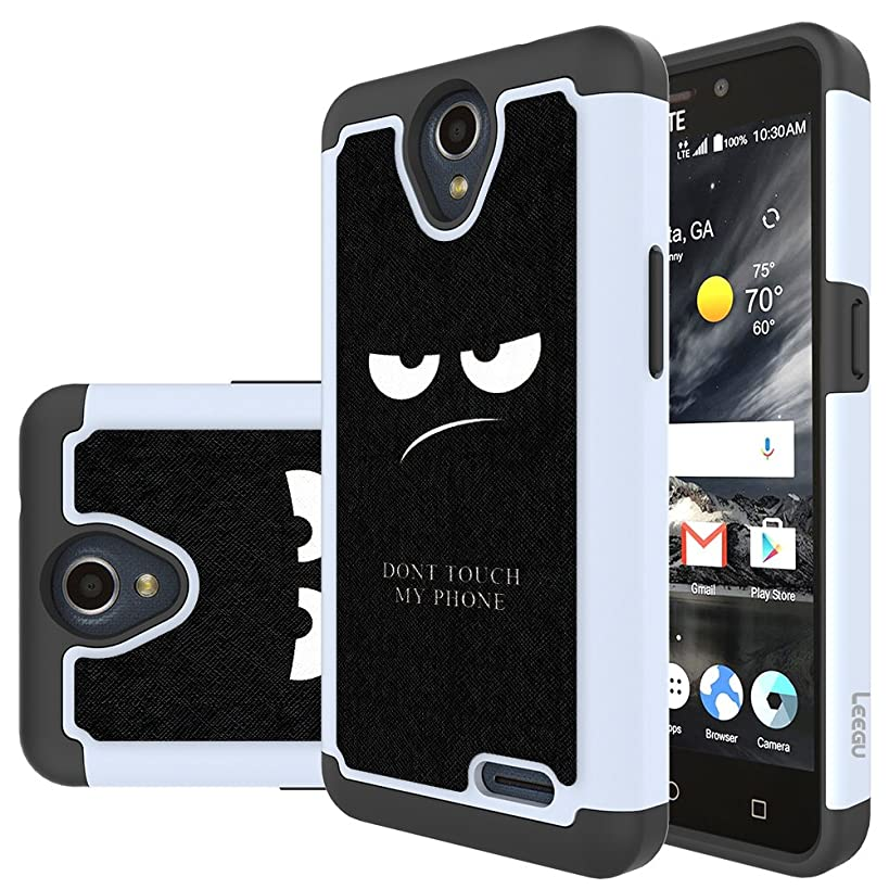 LEEGU [Shock Absorption] Dual Layer Heavy Duty Protective Silicone Plastic Cover Phone Case for ZTE Prestige 2, ZTE Maven 3, ZTE Prelude Plus, ZTE Overture 3 - Don't Touch My Phone