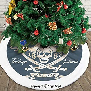 Shark Cove Tortuga Island Caribbean Waters Retro Jolly Roger,Useful Christmas Tree Skirt,Slate Blue White Light Mustard,36 inches,Printed Pictures Decorations Indoor Outdoor