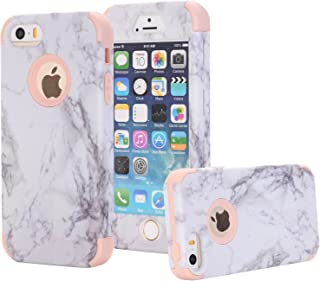 iPhone 5/5S/SE Case, Arukas Marble Design Ultra Slim Scratch Resistant Hybrid Hard PC Back Cover Soft Silicone Bumper Shockproof Protective Case for iPhone 5/5S/SE (4.0 Inch) (marble rose gold)