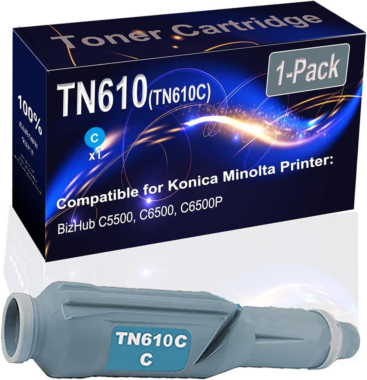 1-Pack (Cyan) Compatible High Yield TN610 (TN610C) Printer Toner Cartridge use for Konica Minolta BizHub C5500 C6500 Printers