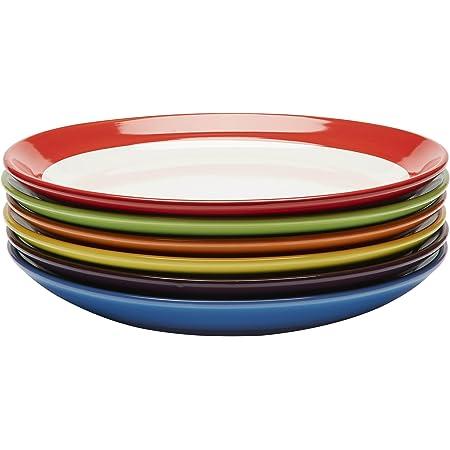 Assiettes Plates - Ensemble Assiettes de Table - Set Assiette Grès - Lot Assiette de Table - Ensemble Vaisselle Assiette Plate - Assiette Service de Table 6 Personnes - Lot de 6 Assiette Couleur, 28cm
