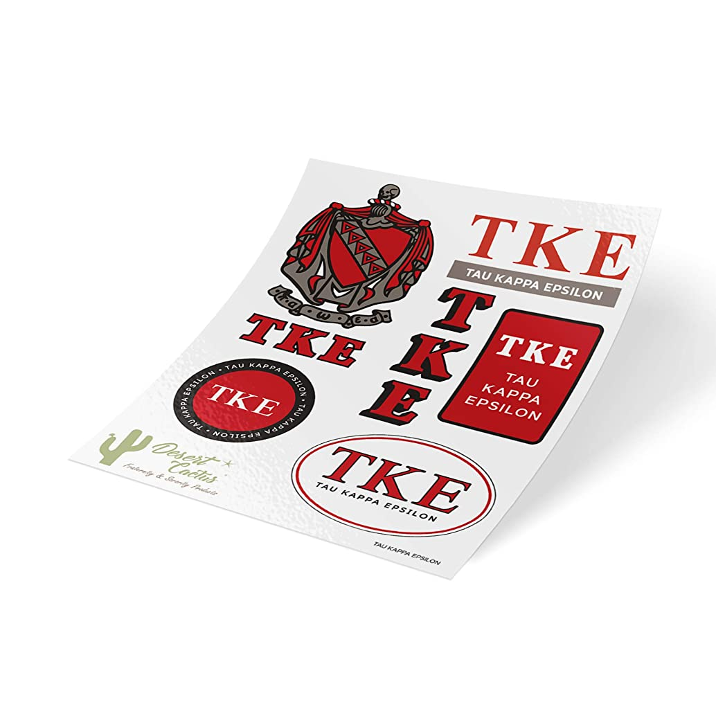 Tau Kappa Epsilon Standard Sticker Sheet Decal Laptop Water Bottle Car TKE (Full Sheet - Standard)