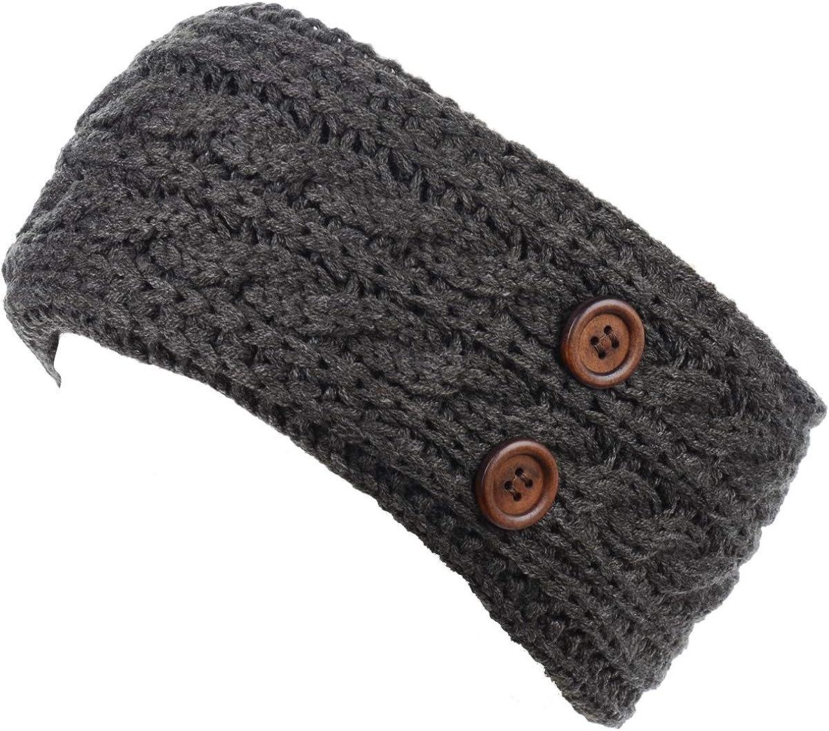 BYOS Women's Winter Cozy Cable Fleece Lined Knit Headband Earwarmer & Gloves Set