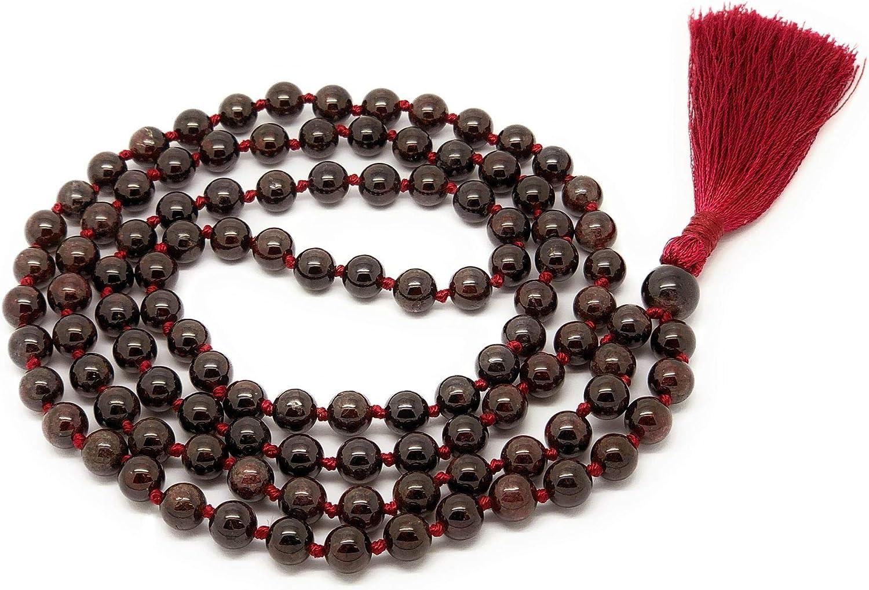 Mala Necklace with Labradorite Rose Quartz Garnet and Sacred Geometry Flower of Life; 108 Crystal Meditation Beads; Yoga Jewelry