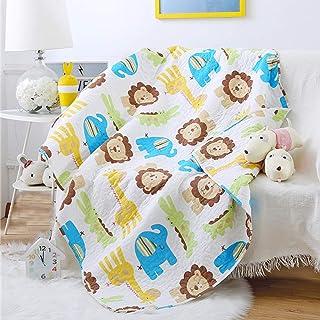 Abreeze Cute Lion Nursery Bed Blanket Elephant Giraffe Coverlet Quilt Bedspread Throw Blanket for Boys Cotton Quilt Crib C...
