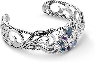 Sterling Silver Opal, Purple Amethyst and Blue Topaz Gemstone Butterfly Cuff Bracelet Size S, M or L