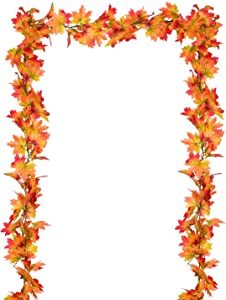 2 Pack Fall Garland Maple Leaf, Hanging Vine Garland Artificial Autumn Foliage Garland Thanksgiving Decor for Home Wedding Fireplace Party (Yellow)