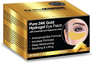 BioMiracle Pure 24K Gold Hydrogel Eye Mask Patch Luxury Advanced Bio Formula for Firmness, Moisture, Soothing & Lifting (60 Pieces)
