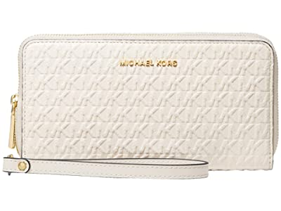 MICHAEL Michael Kors Jet Set Large Double Zip Wristlet (Light Cream Multi) Handbags