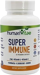 Super Immune Powerful Formula of Essential Supplements, Elderberry Echinacea, Zinc, Ginger, Yeast Extract, Vitamin D, Vita...
