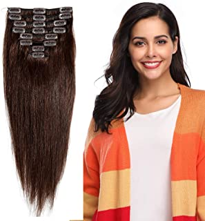 "Clip in 100% Remy Human Hair Extensions 10""-24"" Grade 7A Quality Full Head 8pcs 18clips Short Soft Silky Straight for Women Fashion 10"" / 10 inch 70g, 2 dark brown"