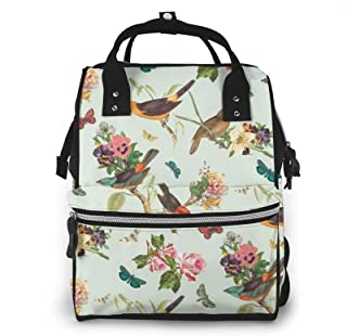 Bird Pattern Print Diaper Bag Backpack,Multi-Function Maternity Nappy Bags For Travel,Large Capacity,Waterproof,Durable An...