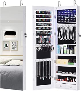 GISSAR Full Length Mirror Jewelry Cabinet, 6 LEDs Jewelry Armoire Wall Mounted Over The Door Hanging, Jewelry Organizer Storage with Lights Lockable White