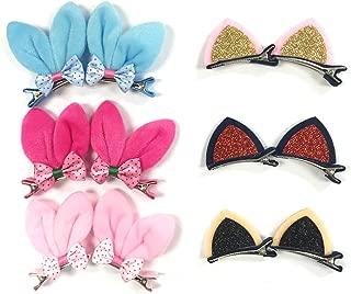 Allydrew Rabbit Ears and Cat Ears Animal Hair Clips (Set of 6)