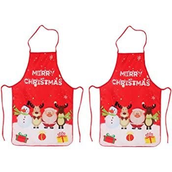 LeeLoon 2 Pack Chistmas Apron, Holiday Kitchen Apron Christmas Santa Claus/Elk/Snowman Style Decoration Apron for Christmas Dinner Party Cooking Baking Crafting House Cleaning Kitchen, Large