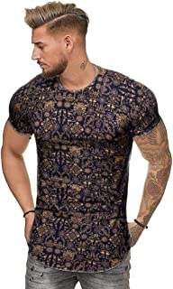 African Tees for Men,Hip-Hop Hipster Tie-Dyed T-Shirts Casual Stylish O-Neck Short Sleeve Curve Hem Longline Tops by Leegor