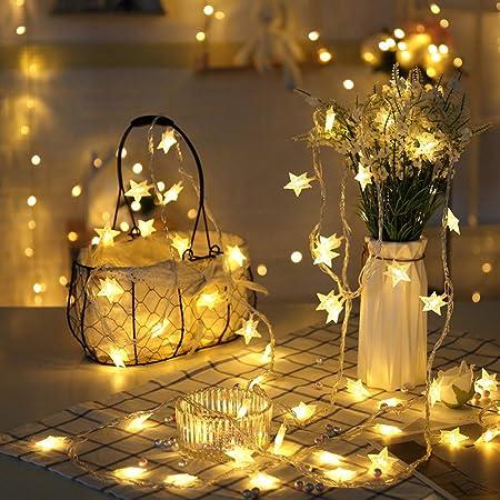 EFFE イルミネーションライト LEDスターライト ストリングライト 3m 電球数20 電池式 星型 星ライト 点滅機能 ワイヤーライト クリスマス パーティー 結婚式 誕生日 飾りライト スター 電飾 室内室外 防水 電球色(ウォームホワイト)