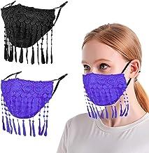 2 Pcs Lace Face Cloth Mask - Fashion Reusable Black Purple Masks for Women Breathable Washable Cotton Cover, Adjustable De...