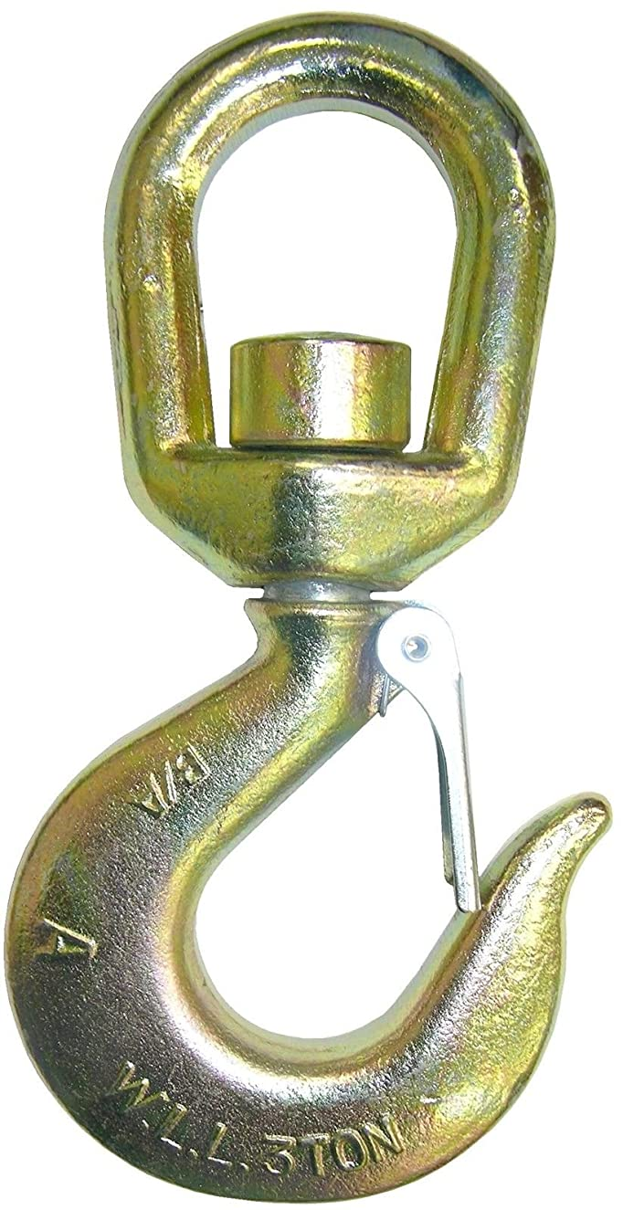 B/A Products 4-11TASHL, 11 Ton Grade 70 Swivel Hoist Hook for Wire Rope, 11 Ton WLL for 3/4