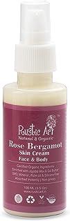 Rustic Art Organic Rose Bergamot Skin Cream   Face & Body Moisturizer, 100 Ml
