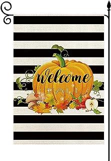 YaoChong Welcome Fall Pumpkin Striped Garden Flag Vertical Double Sized,Summer Autumn Harvest Seasonal Farmhouse Burlap Ya...