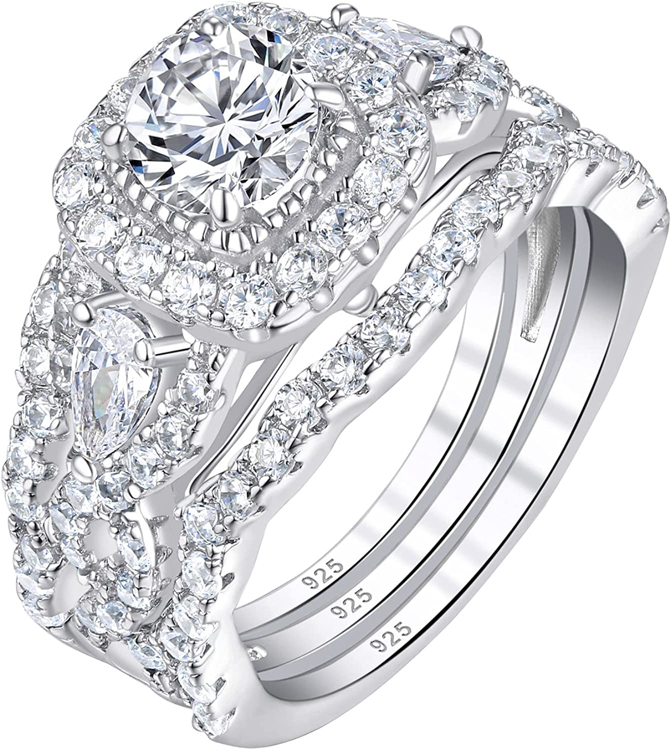 SHELOVES 925 Sterling Silver Wedding Rings White En El Paso Mall Cz Round Max 68% OFF Set