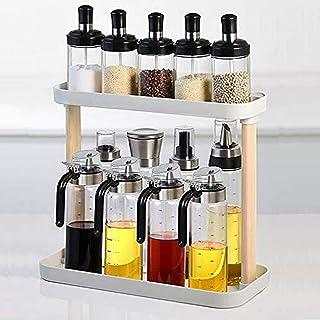 HJUYV-ERT Pot à épices Organisateur de Support d'herbes et d'épices à 2 Niveaux Distributeur d'huile à Miel Combinaison cu...