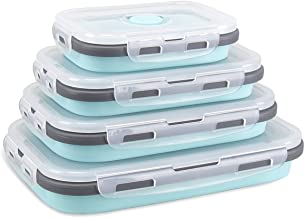 Xcellent Global Collapsible Silicone Food Storage Containers Lunch Bento Box BPA Free for Outdoor Camping, Hiking, Picnic