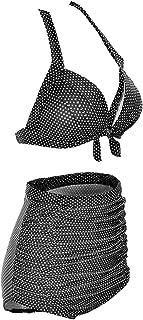 Linda Per Comfortable Women's Vintage High Waist Padded Polka Dot Bikini Swimsuit Set