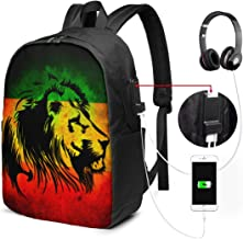 Adult Lion of Jamaica Reggae Travel Notebook Backpack, Slim Business Bag Casual Daypack for Women & Men, Outdoor Camping Bookbag