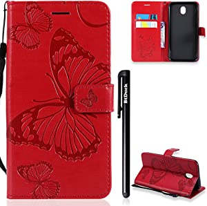 BtDuck Compatible with Samsung Galaxy 2017 Flip Stand Clear Butterfly Cover Leather Wallet Phone Protector Magnetic Closure Case Shockproof Phone Case Wrist Strap for Woman Holster Slim Fit