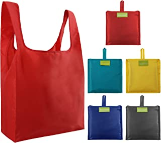 Bulk Reusable Grocery Bags with Pouch Washable Foldable Shopping Tote Bags Ripstop Waterproof Reusable Shopping Bags, Light Weight Durable Waterproof (Yellow,Royal,Grey,Green,Red)