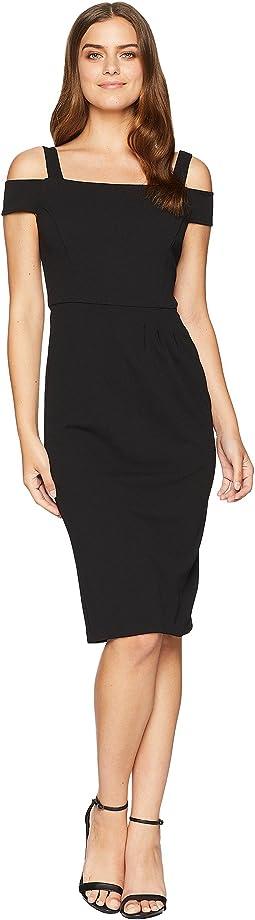 Strappy Sheath Dress w/ Asymmetrical Waist Pleat