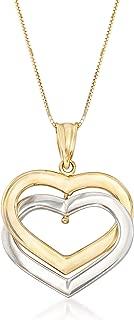 14kt 2-Tone Gold Interlocking Hearts Pendant Necklace