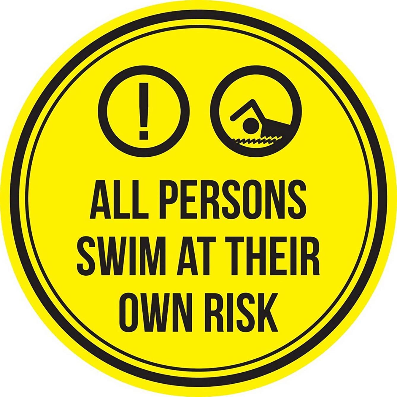 Eletina Case Signs 12 X 12 Inches Metal Sign All Persons Swim at Their Own Risk Swimming Pool Spa Warning Round Sign