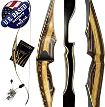 "Tigershark One Piece Recurve Bow – 60"" Recurve Hunting Bow – Right & Left Hand – Draw Weights in 25-60 lbs – USA Based Company – Perfect for Beginner to Intermediate – 1 Year Warranty"