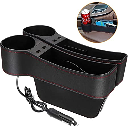 Console Side Pocket Organizer with USB Charging 2 Pack Multifunctional Car Console Side Organizer with Cup Holder for Cellphones Wallet Coin Key Car Seat Gap Filler