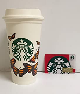 Starbuck Reusable Plastic Travel to Go Butterfly Grande 16 Oz. Grande Limited Edition 2015 Partner Design Contest. Collectable/Discontinued Zero Bal Gift Card Bundle